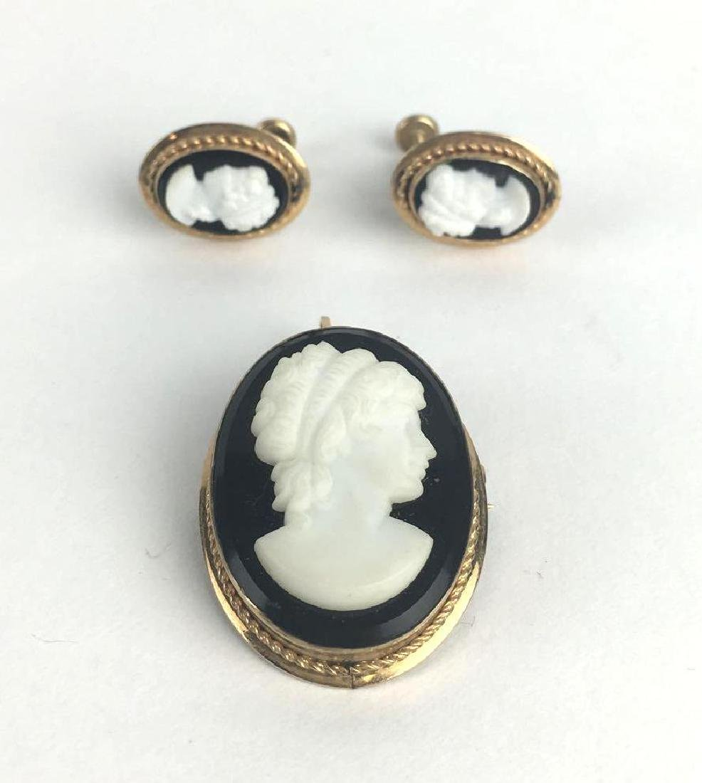 Marcasite Cameo Earrings and Brooch Set