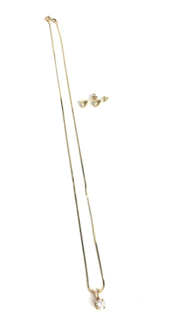 14k Yellow Gold Necklace and Stud Set - 2