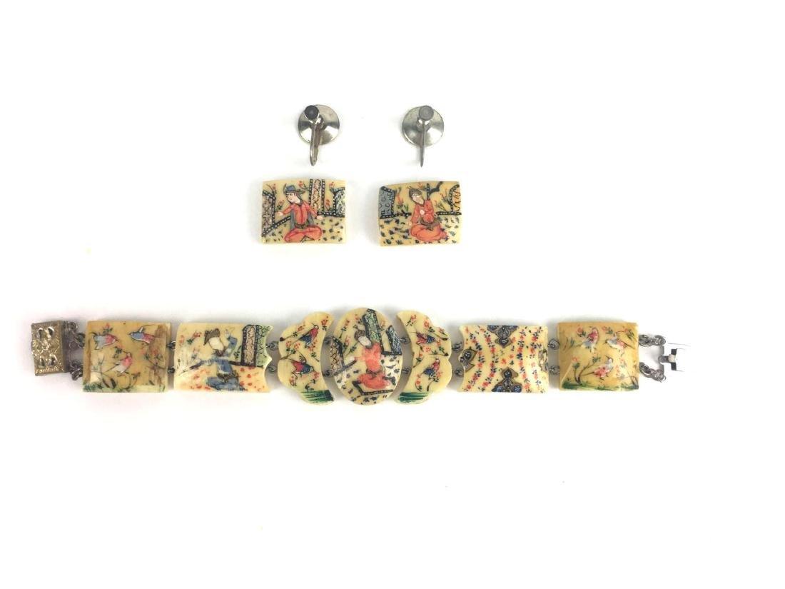 Hand Painted Bone Bracelet and Earrings Set
