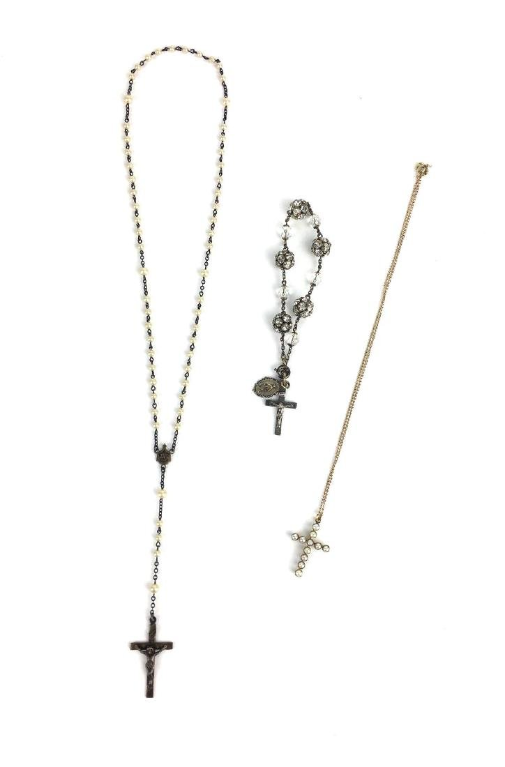 Lot of 3 Sterling Rosaries and Cross Pendant
