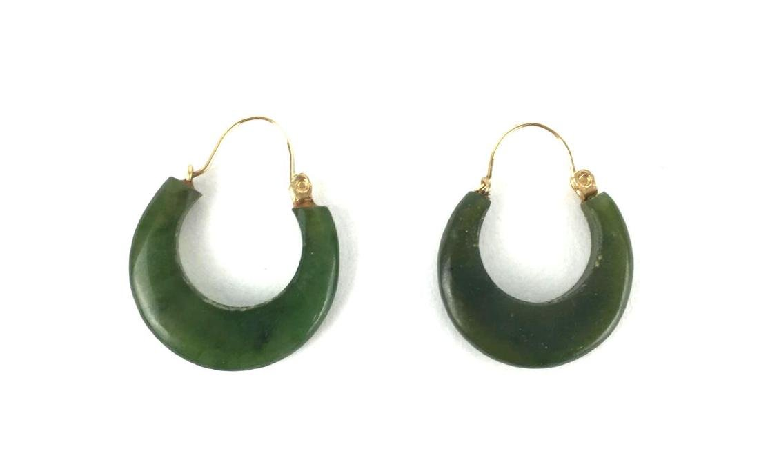 Vintage Jade and Gold Toned Hoops
