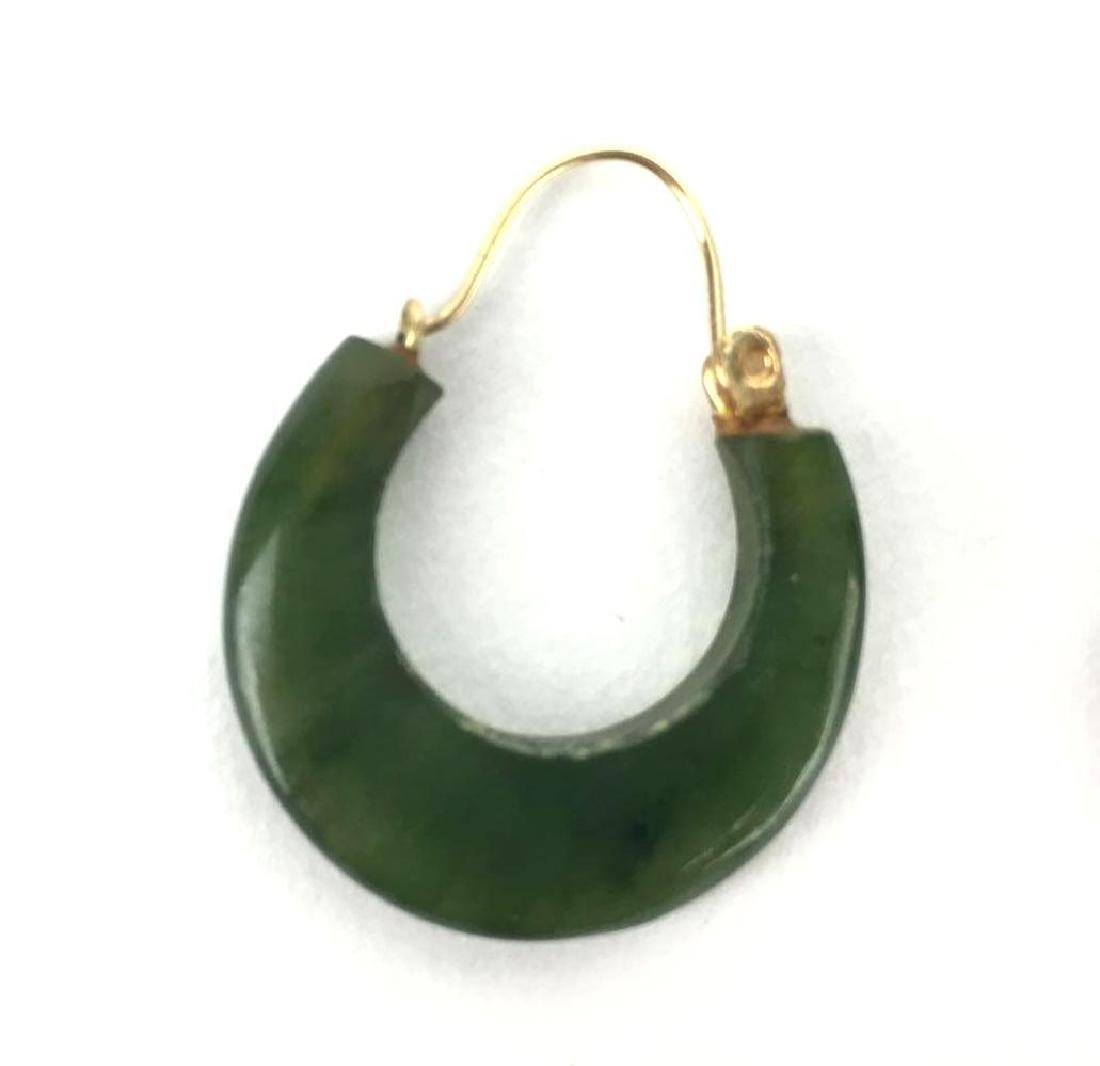 Vintage Jade and Gold Toned Hoops - 2