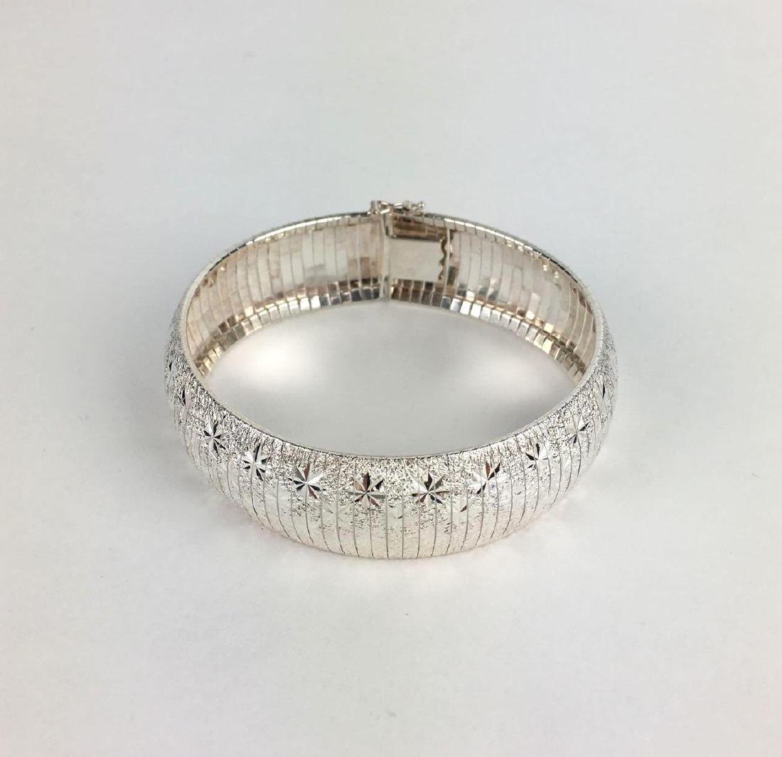 Sterling Silver Graved Star Bracelet