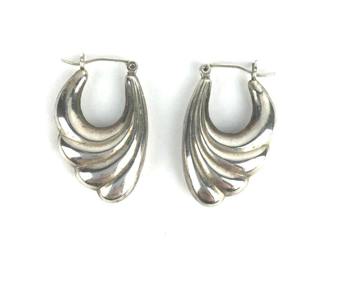 Wing Design Sterling Silver Hoop Earrings
