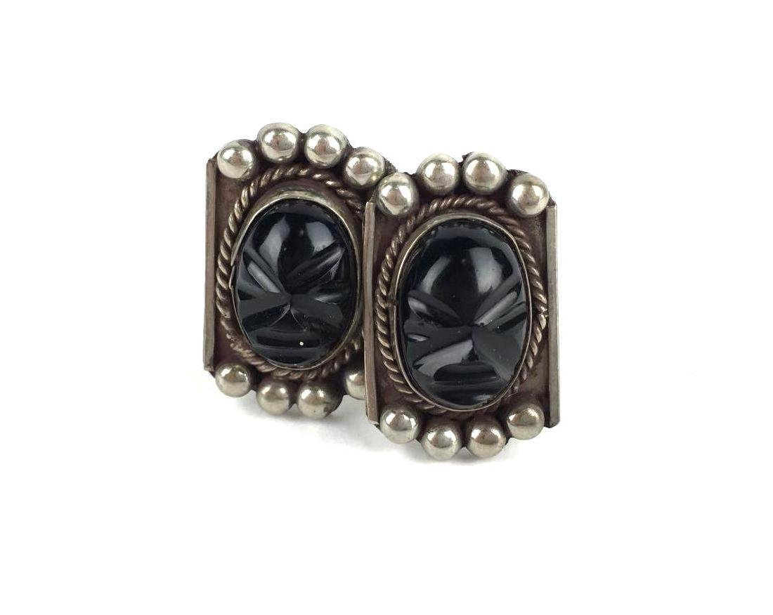 Vintage Mexican Silver and Obsidian Earrings