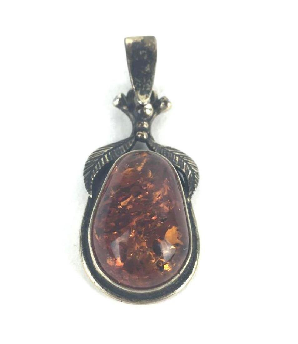 Sterling Silver & Amber Pear Drop Pendant