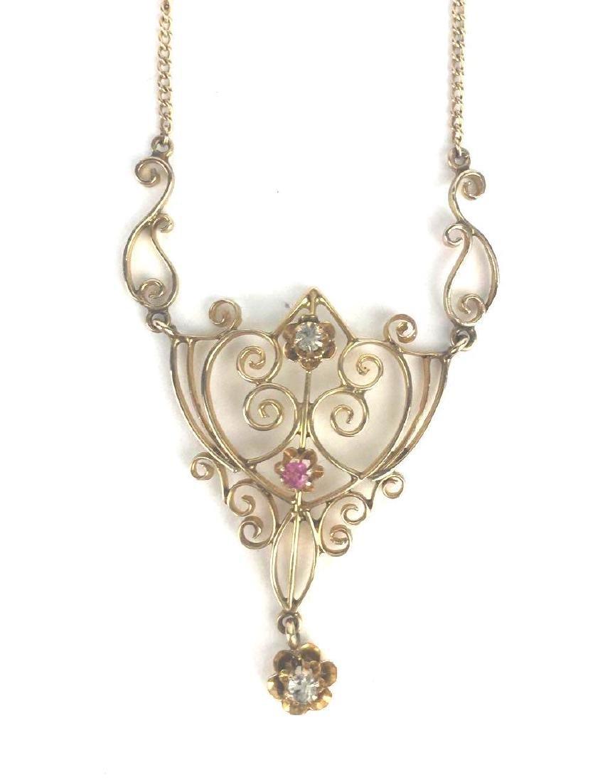 Vintage 10k Gold Filigree Necklace
