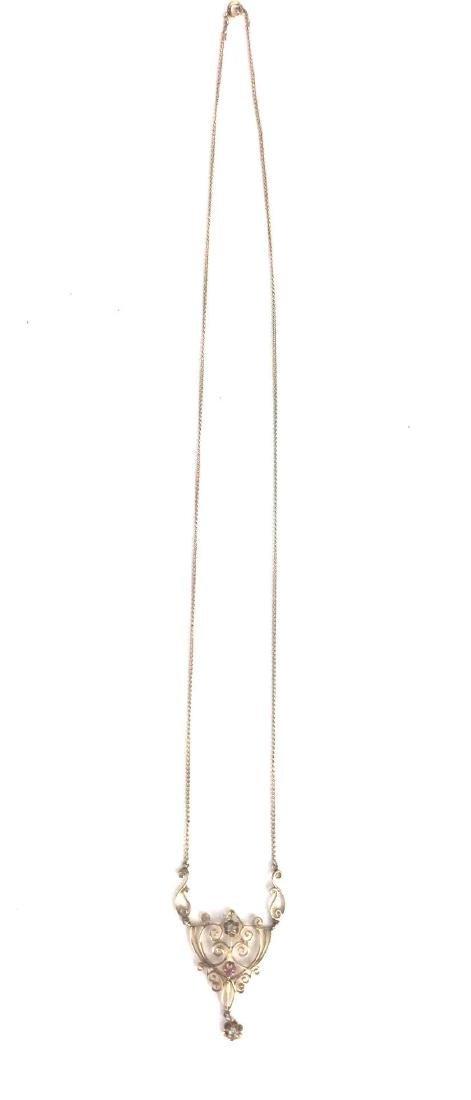 Vintage 10k Gold Filigree Necklace - 2
