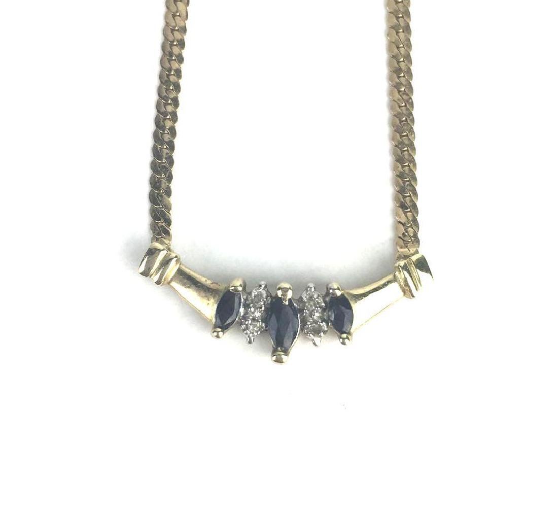 10k Gold Herringbone Jewel Necklace