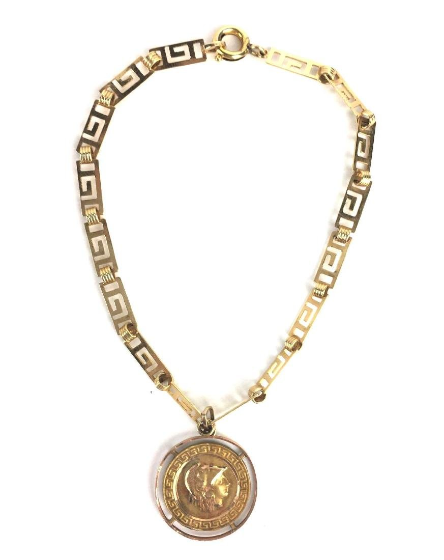 18K Gold Greek Medallion Bracelet