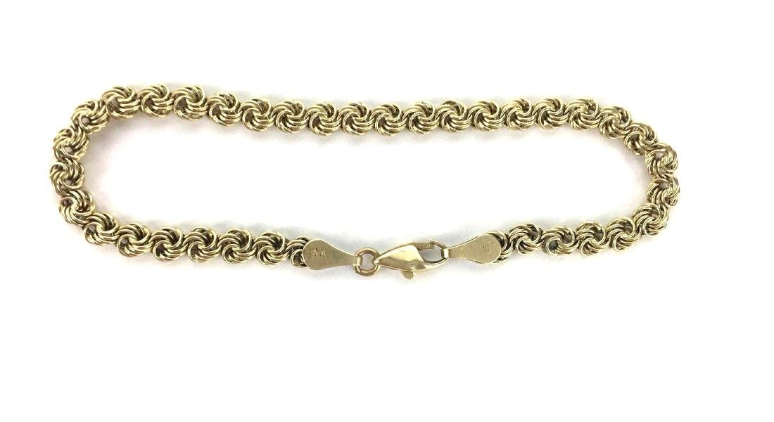 14k Gold Rope Chain Bracelet