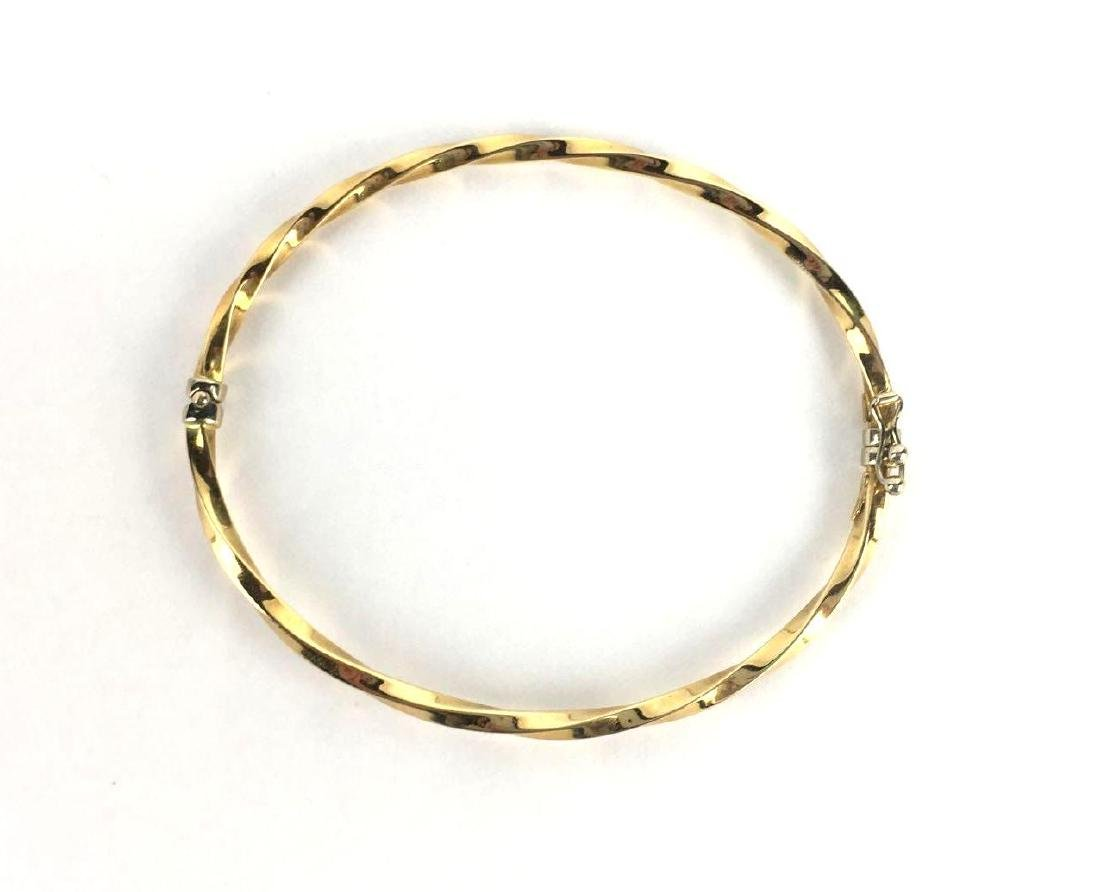 18k Gold Twisted Hinge Bangle - 2