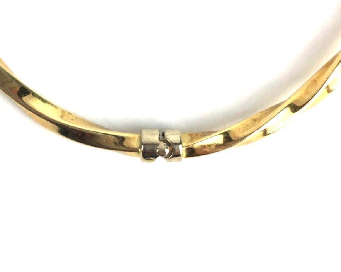 18k Gold Twisted Hinge Bangle - 4