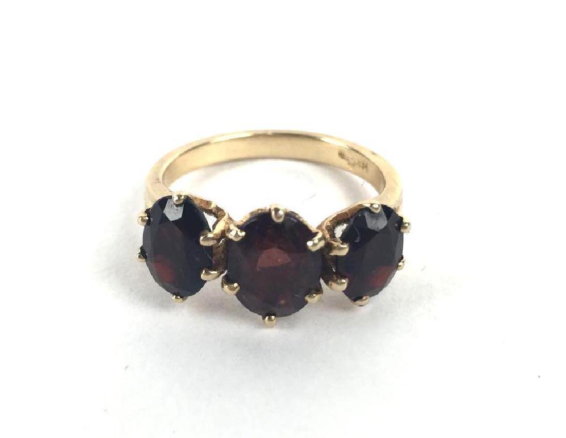 14k Gold 3 Stone Prong Set Ring