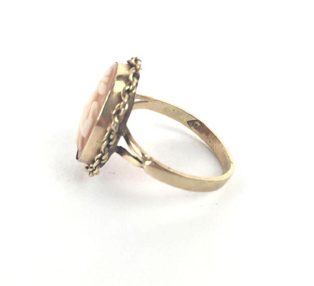 18k Gold Fleur De Lis Cameo Ring - 3