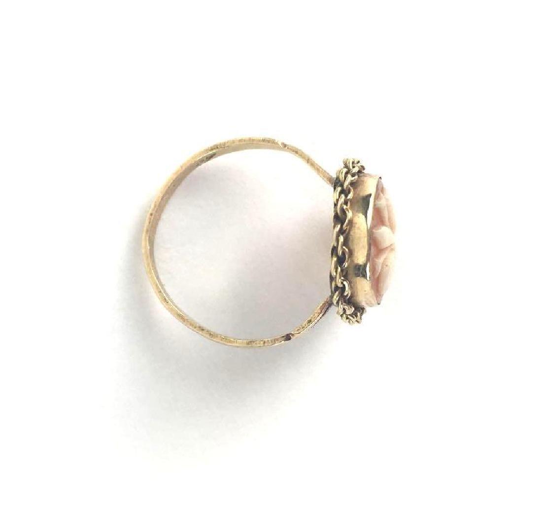 18k Gold Fleur De Lis Cameo Ring - 4