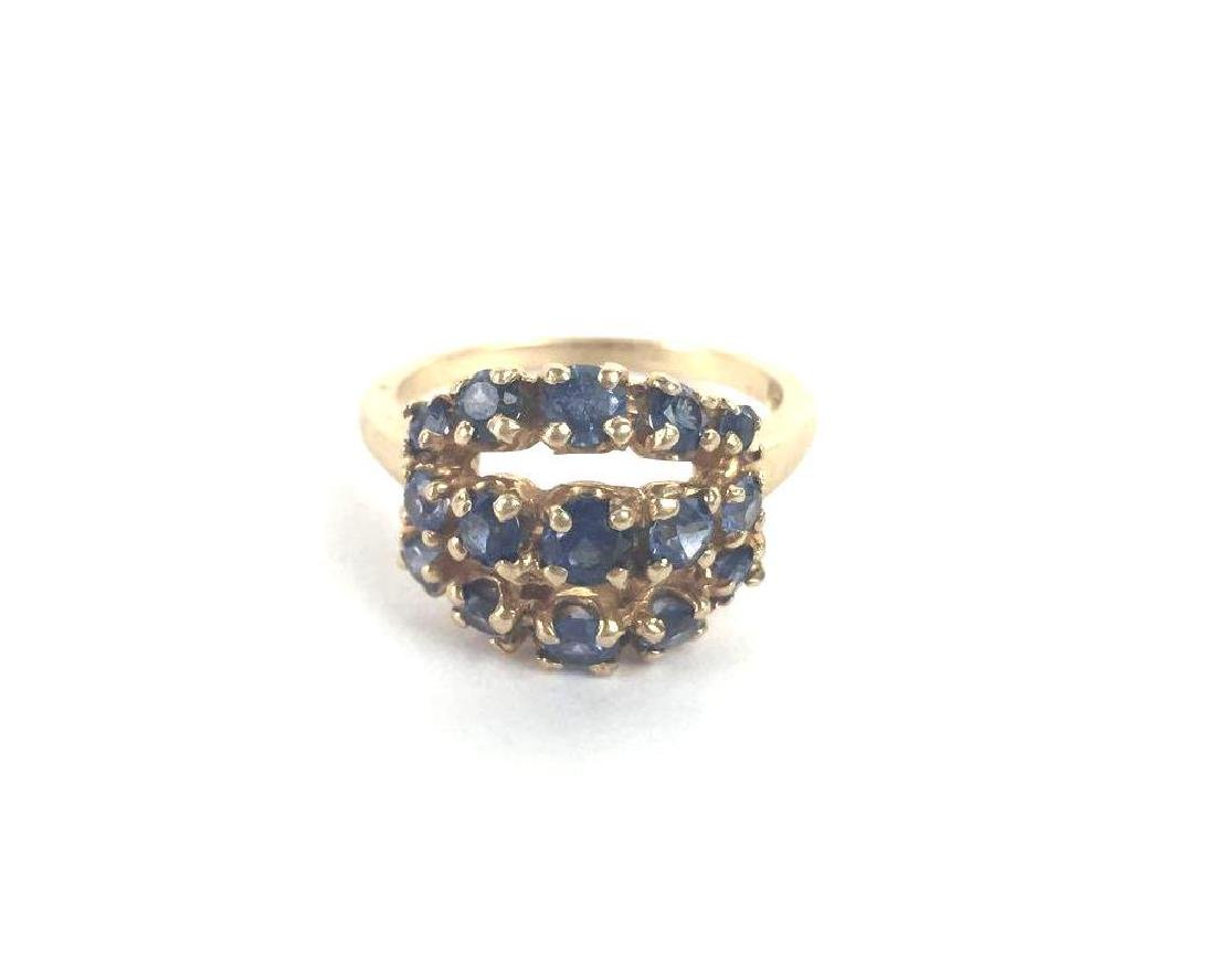 14k Gold Three Row Cluster Ring