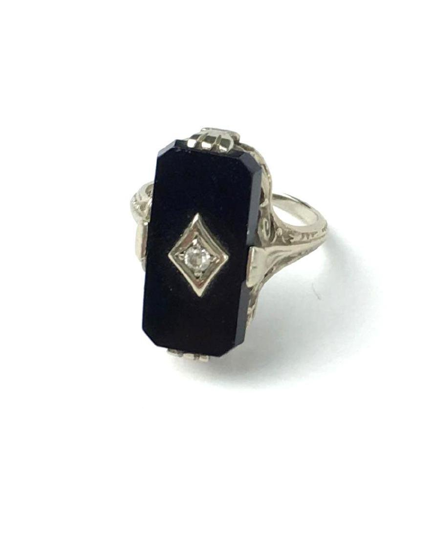 Antique 14k  White Gold and Marcasite Art Deco Ring by