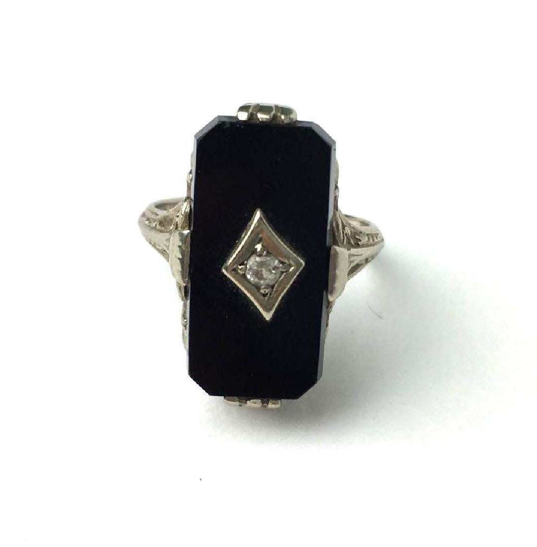 Antique 14k  White Gold and Marcasite Art Deco Ring by - 2
