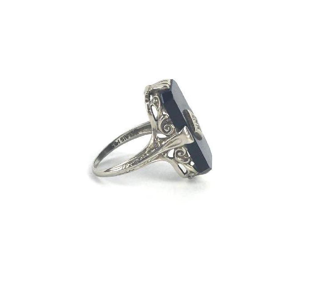 Antique 14k  White Gold and Marcasite Art Deco Ring by - 4