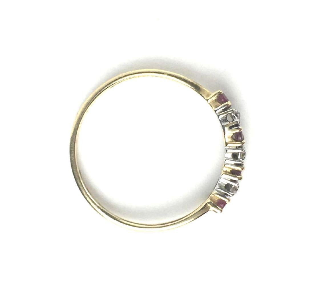 10k Gold Curved Pave Style Ring - 2