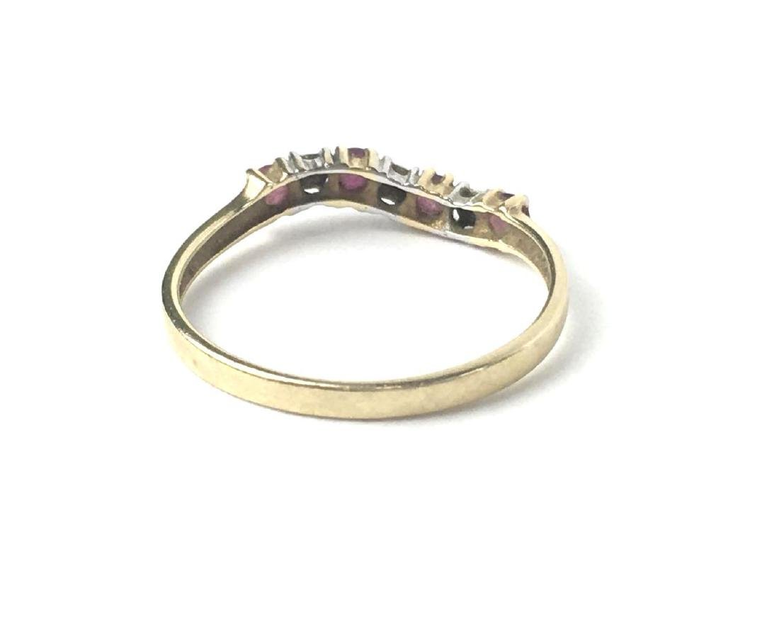 10k Gold Curved Pave Style Ring - 3