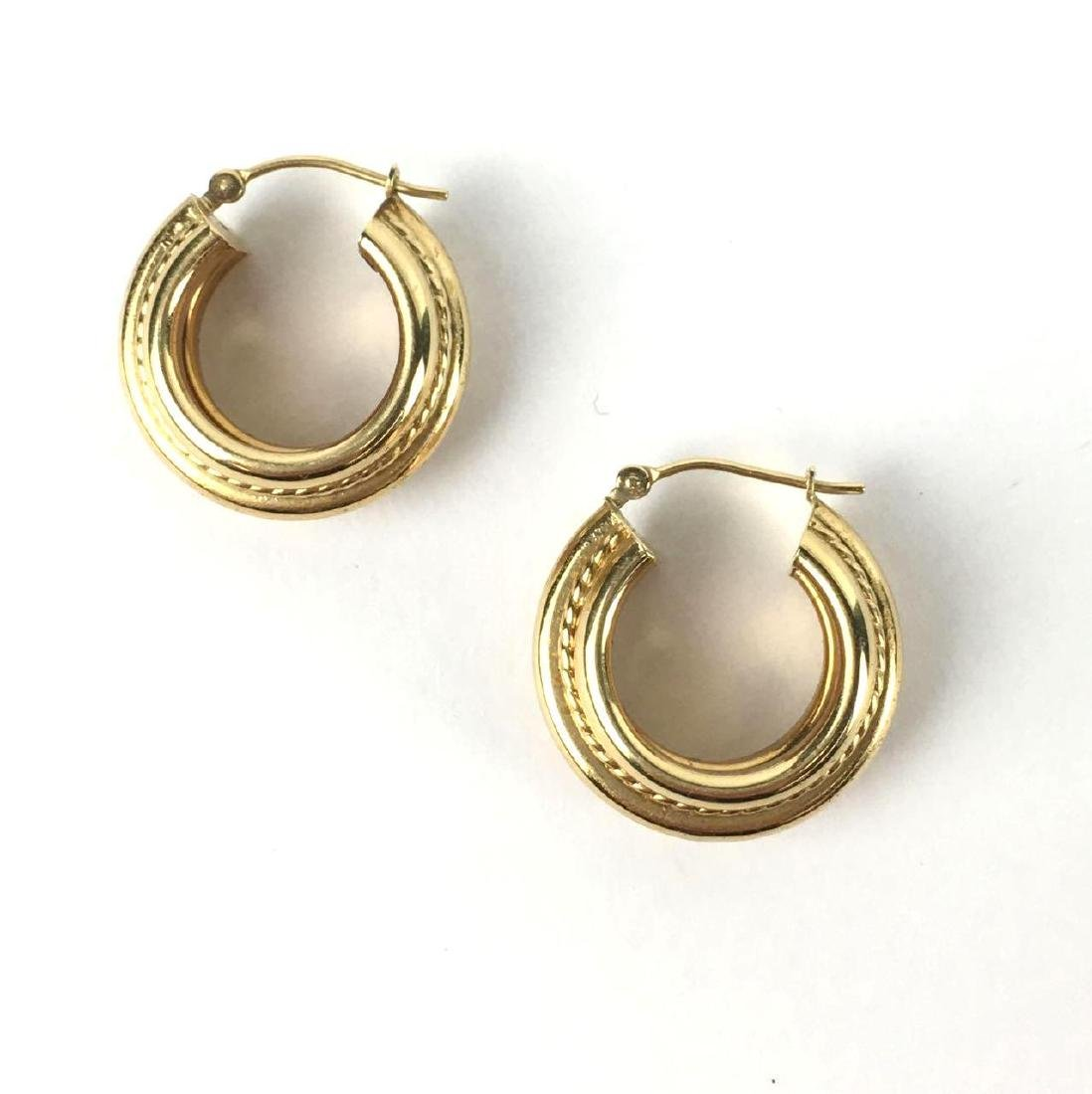 18k Gold Chunky Lever Back Hoops - 3