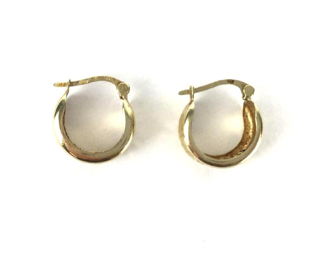 Small 14k Gold Chunky Hoops - 2