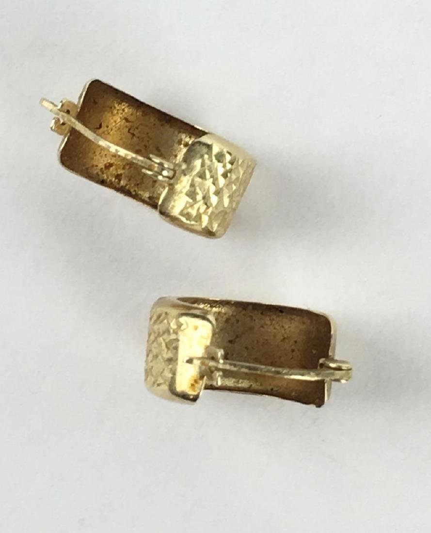 Small 14k Gold Chunky Hoops - 4
