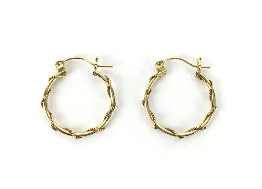 14k Gold Rope Hoop Earrings