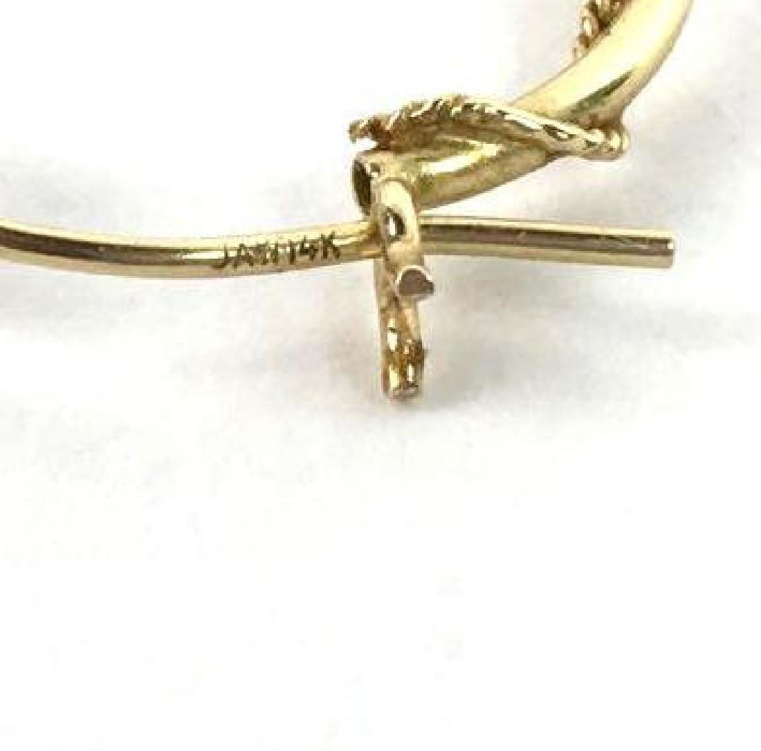 14k Gold Rope Hoop Earrings - 2