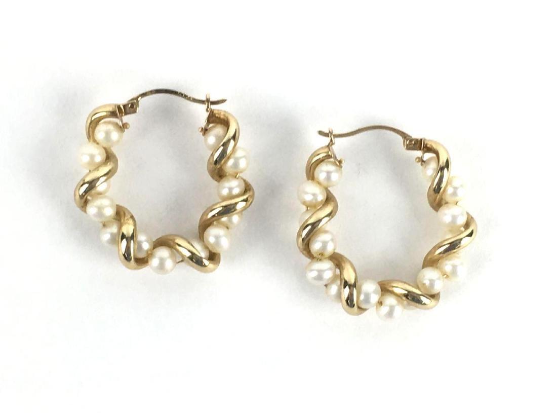 10k Gold And Pearl Hoop Earrings