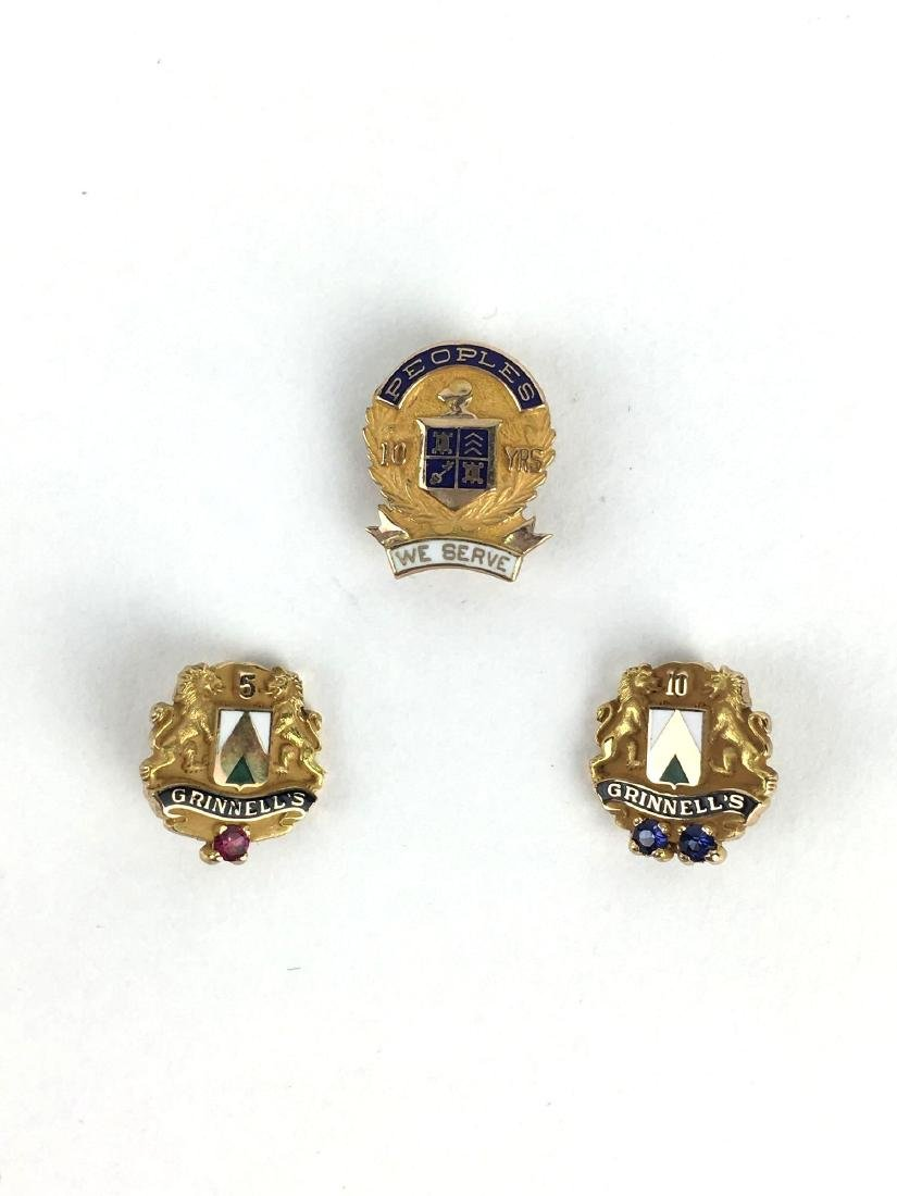 Lot of 3 10k Gold Enamel Pins