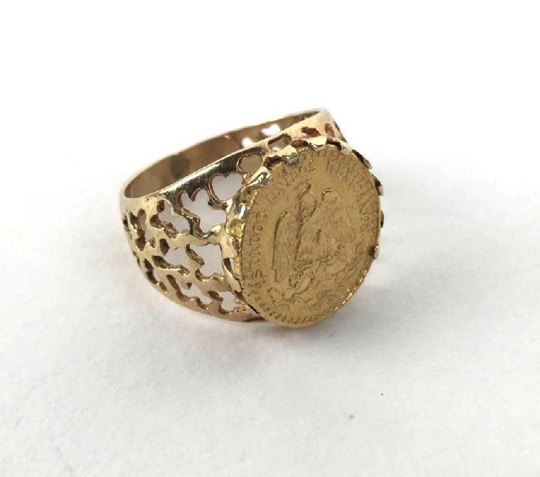 14k Gold Mexican Sovereign Ring, a Mexico 2 Pesos Coin