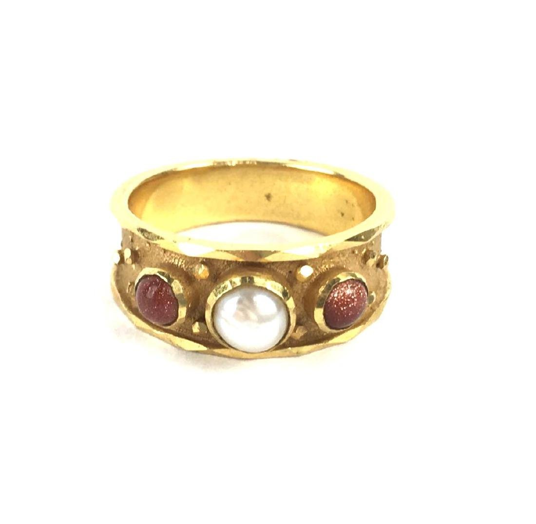 14k Yellow Gold Chunky Band With Pearl