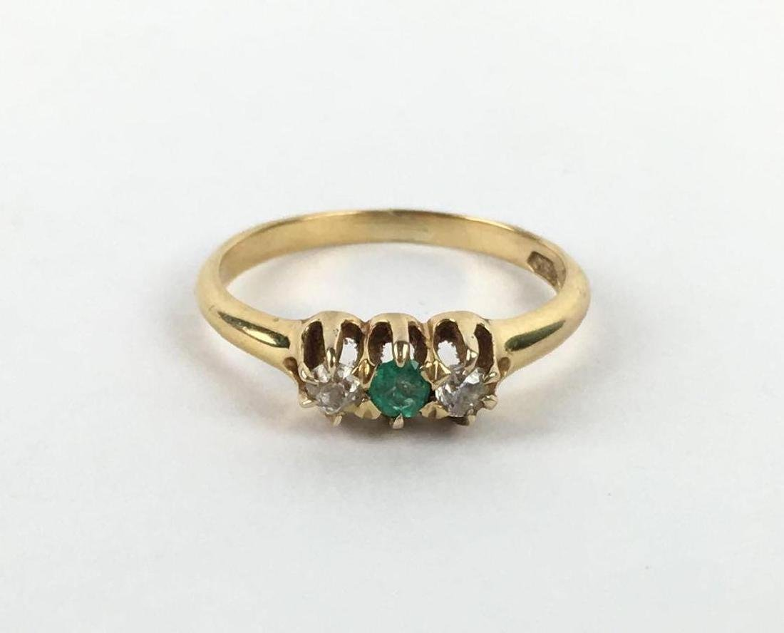 18k Gold Cabochon Cut 3 Gem Ring