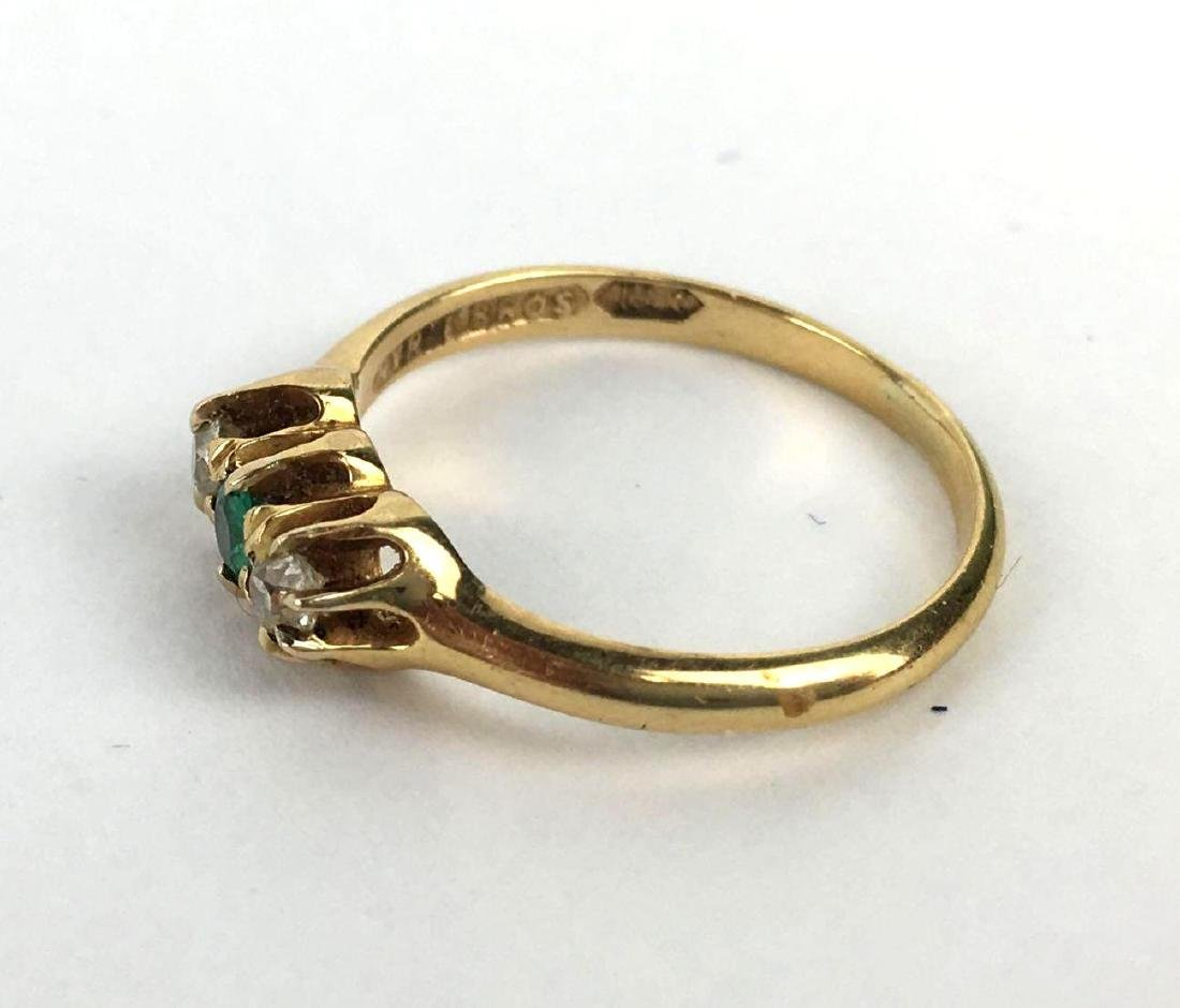 18k Gold Cabochon Cut 3 Gem Ring - 2