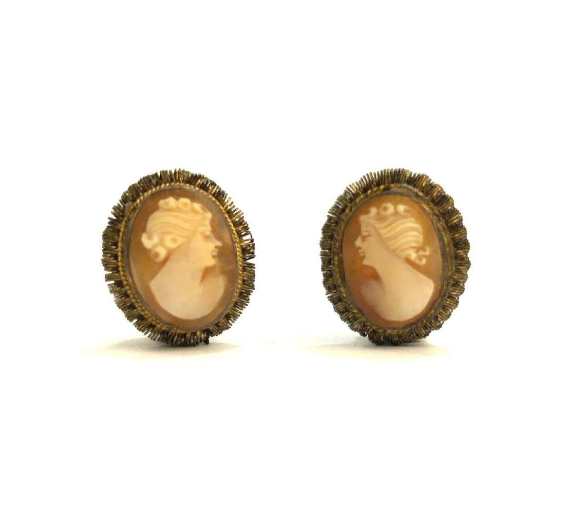 18k Antique Cameo Earrings