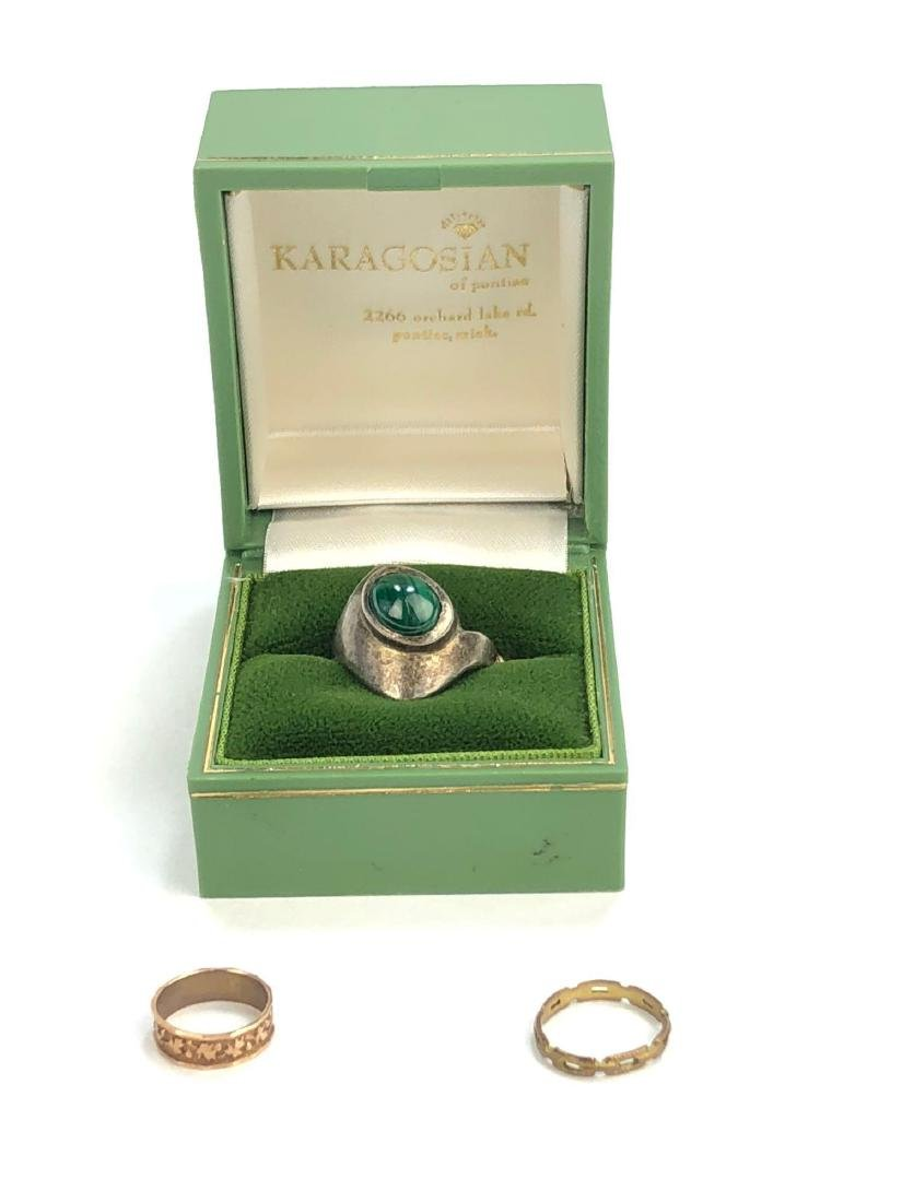 10K Infant Rings and Silver Malachite Ring