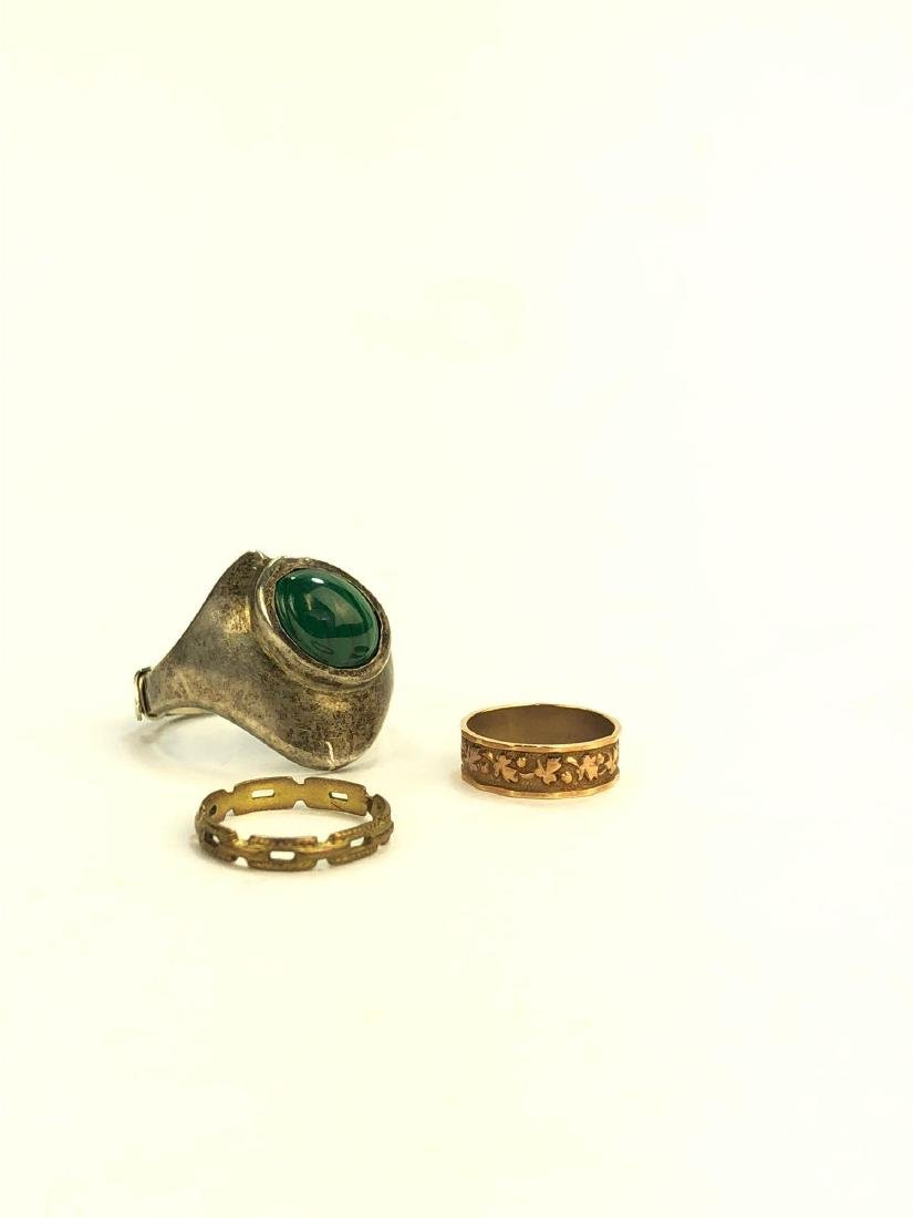 10K Infant Rings and Silver Malachite Ring - 2