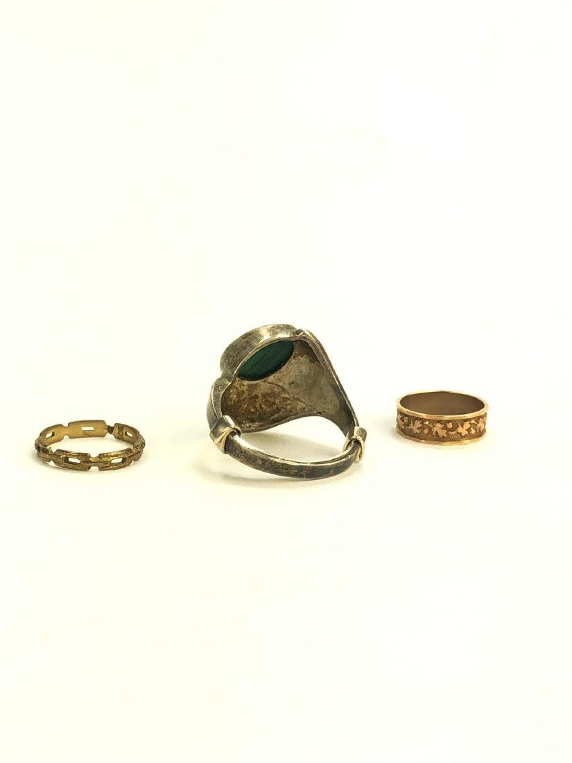 10K Infant Rings and Silver Malachite Ring - 3