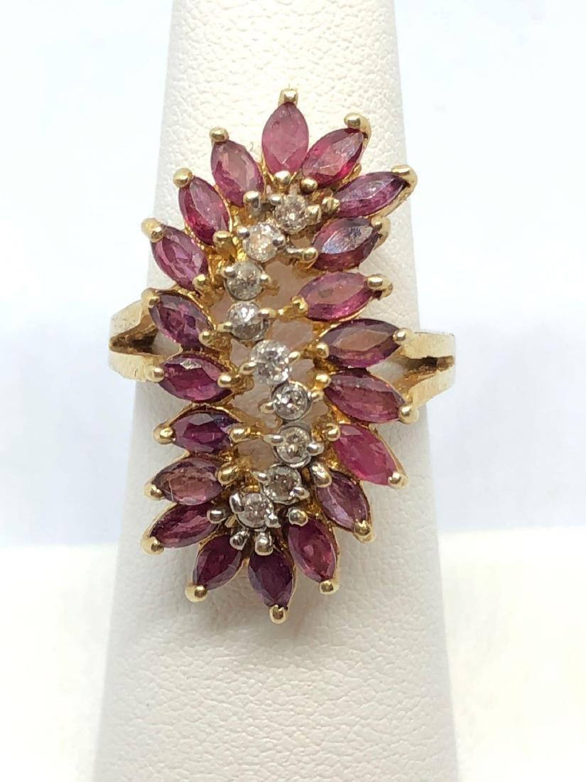 14k Gold Stacking Diamond Cluster Ring