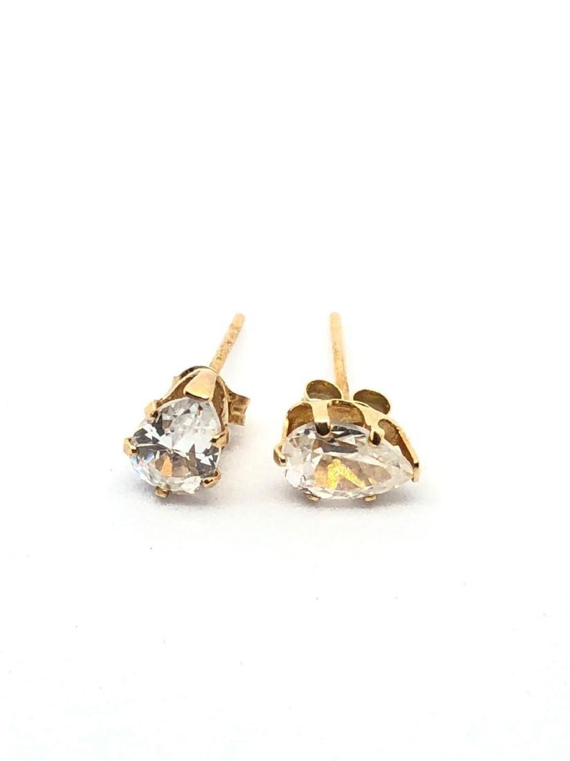 14k Gold Pear Cut Stud Earrings