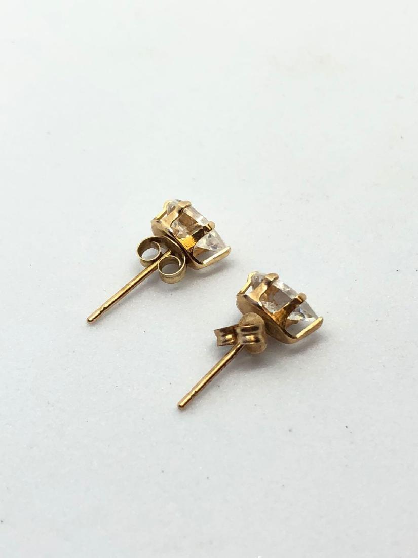 14k Gold Pear Cut Stud Earrings - 2