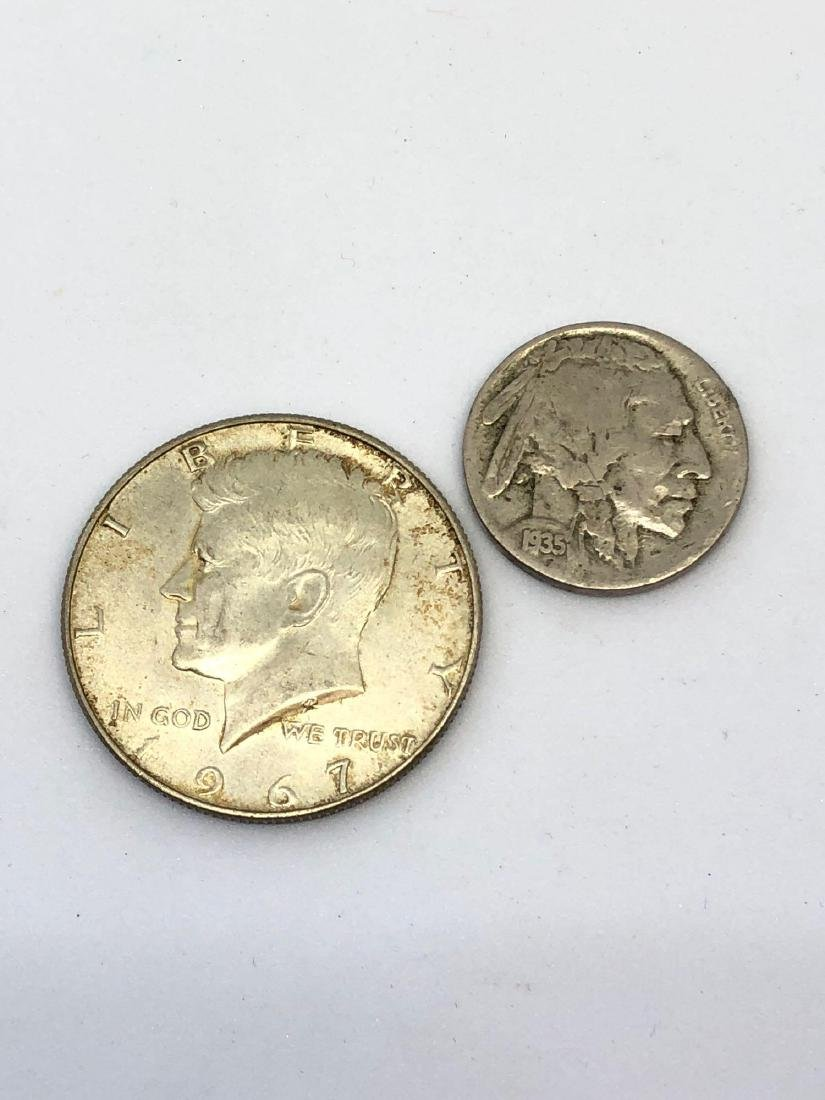 Lot of 2 Coins, 1 x 1935 Buffalo Head Nickel and 1 x