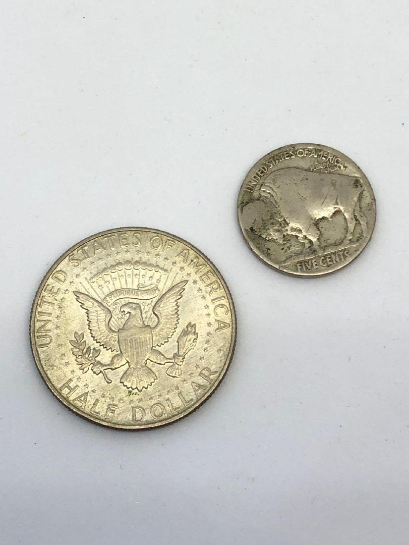 Lot of 2 Coins, 1 x 1935 Buffalo Head Nickel and 1 x - 2