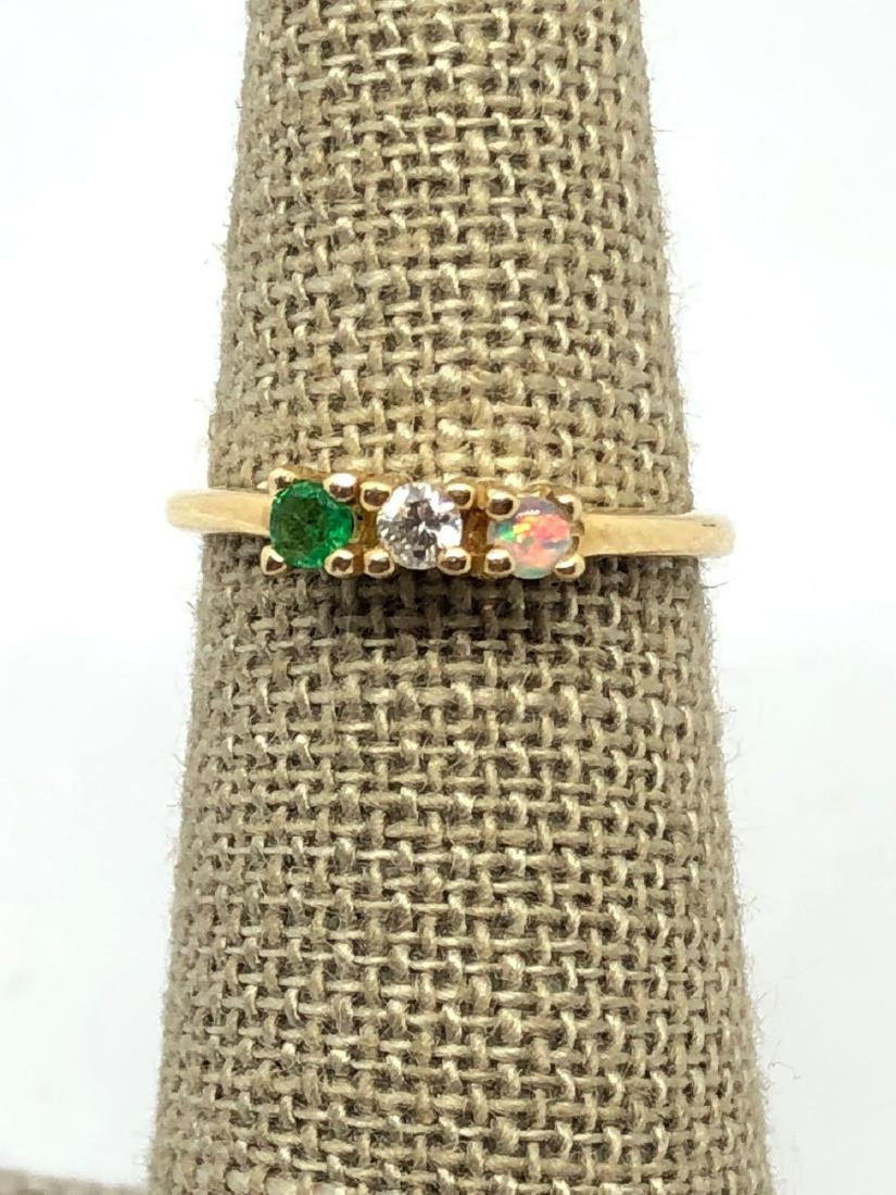 14k Gold Band with 3 Prong Set Stones