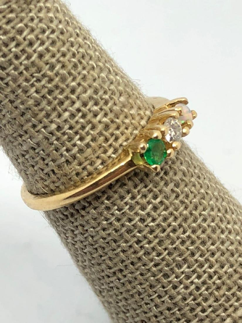 14k Gold Band with 3 Prong Set Stones - 2