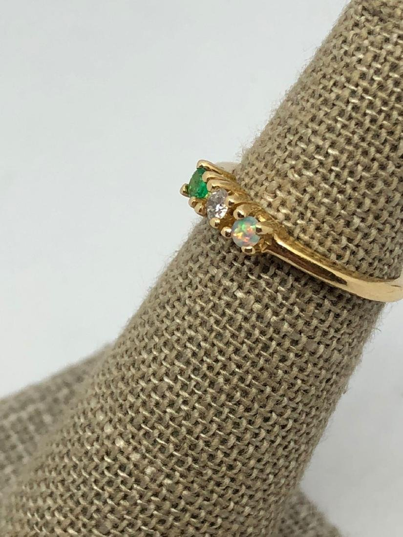 14k Gold Band with 3 Prong Set Stones - 3