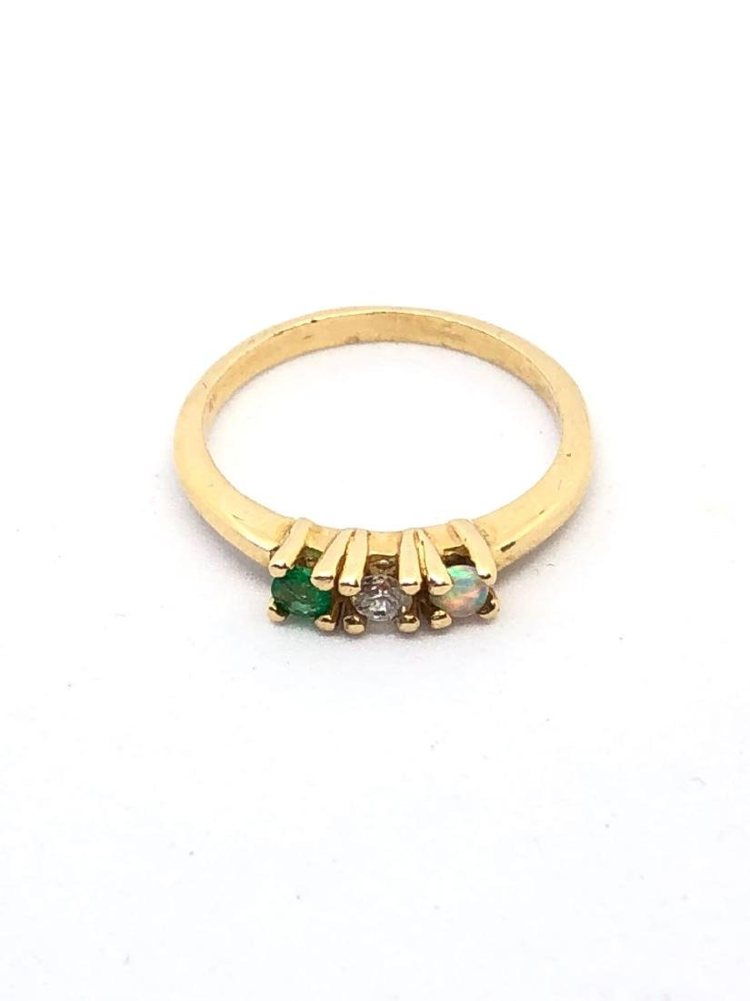14k Gold Band with 3 Prong Set Stones - 4